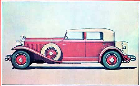 A 1930 Hispano Suiza Convertible Phaeton is shown in a LeBaron sales catalog. These renderings were done to show clients how their car would appear. R.L. Stickney handled the renderings for LeBaron and also illustrated color catalogs for Lincoln Motors.