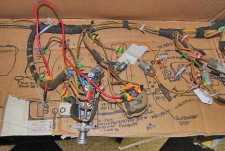 This part of the cardboard shows the wiring behind the instrument board.