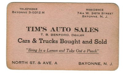 Dad's business card for his used car lot.