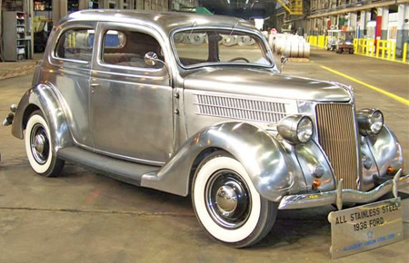 The 1936 Ford Deluxe never looked as good in paint as it does here with the rich natural patina of stainless steel. Of the six originally produced, four still survive.
