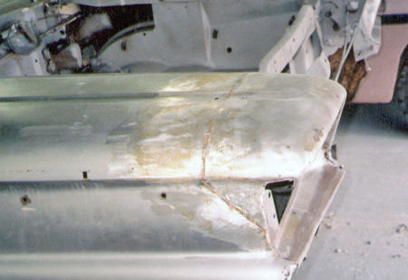 Headlamp hood sheet metal replacement is common, bimetallic corrosion between trim and metal causes the majority of panel rust on Skyliners.